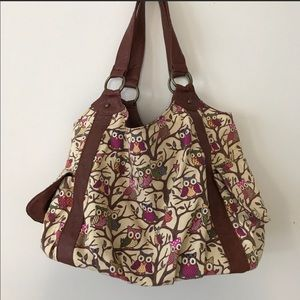 Handbags - Canvas/Vegan Leather Owl Tote Purse Hobo Bag